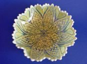 Large Davidson's Yellow Pearline 'William and Mary' Glass Bowl c1905